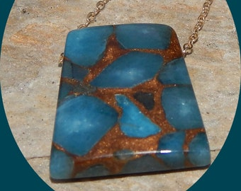 "Beautiful Trapeziod Golden Aqua Aura Quartz Pendent on a 14K Gold Vermiel 20"" Chain"
