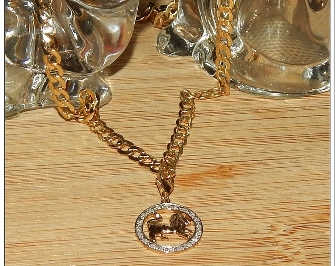 """Featured listing image: Genuine 10K Gold 3/16"""" Wide 20"""" Curb Link Chain with 10K Gold Lion Charm Surrounded by a Circle of Genuine Diamonds"""