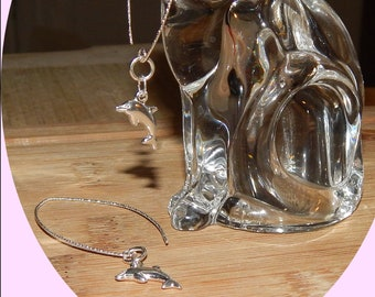 Adorable Sterling Silver Dolphins Dangle From Diamond Cut Sterling Ear Wires