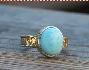 Gorgeous Larimar Ring Set in Sterling Silver and 14K Gold Plate