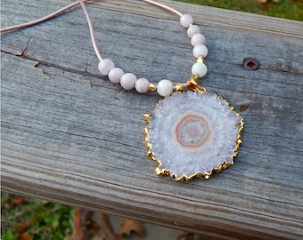 Beautiful Solar Rose Quartz Stalactite Pendant with Kunzite & Gold Plated Beads