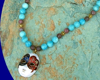 Just Reduced! Now on Sale! Blue Larimar Quartz Beads, Gold Plated and Lepidolite Beads with Stunning Porcelain Venetian Mask