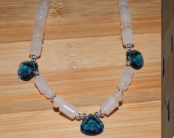 Lower Price! Gorgeous London Blue Topaz and Rose Quartz Necklace