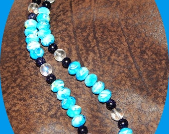 Now on Sale! Gorgeous Blue and White Czech Glass With Clear AB Crystal & Blue Goldstone Beads
