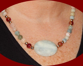 On Sale! Gorgeous Multicolored Beryl (Aquamarine, Morganite, etc) Beads, Rose Gold Plated Beads, Red Gold Jasper With Larimar Center Stone