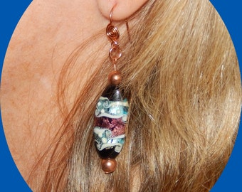 Now on Sale! Handmade Lampwork Earrings on Decorative Copper Ear Wires
