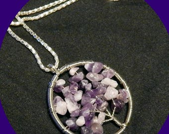 """On Sale! Tree of Life Pendant with Genuine Amethyst Nuggets on 32"""" Italian Sterling Silver Chain"""