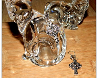 Antique Silver Plated Celtic Cross Earrings on Decorative Ear Wire