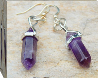 Beautiful and Lightweight Healing Amethyst Point Earrings