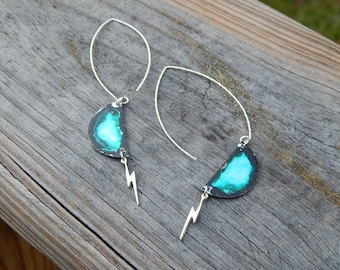 Reduced! These Earrings Make a Statement with a Flash of Lightning, a Splash of Blue & a Dab of Sparkle