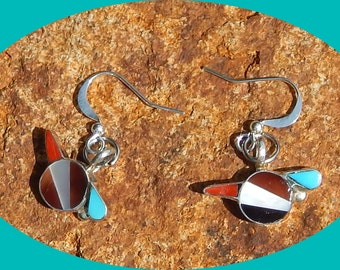 On Sale! Sterling Silver Road Runner Earrings With Turquoise Coral Jet & Mother of Pearl Inlays