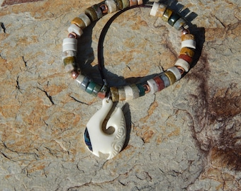 Ocean Jasper Tube Beads and Copper Beads with Hand Carved Balinese Bone Fish Hook Pendant