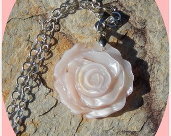 Beautiful Pink Carved Shell Rose on Sterling Silver Chain
