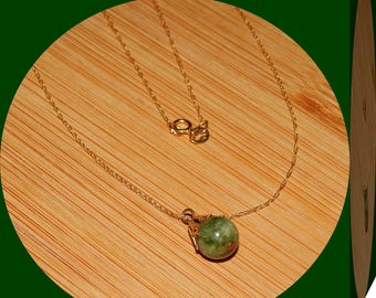 NEWS FLASH! Lower Price! Beautiful, Genuine Solid 10K Gold Chain With Natural Green Jade Topped With Solid Gold Decorative Bead Cap