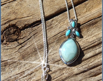 Gorgeous Unique Larimar & Turquoise Pendant in Sterling Silver on Chain or Cord