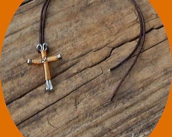 Now on FIVE Dollars! Horseshoe Nails Cross Wrapped in Copper on Leather