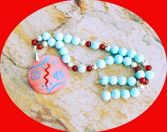 Reduced! Gorgeous Large Turquoise Frosted Beads Accent With Faceted Red Carnelian & Decorative Silver Plated Beads, Painted Shell Pendant