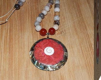 Amazing Botswana Agate & Carnelian Beads With a Lovely Abalone, Coral and Spiral Shell Pendant