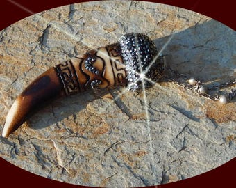 Gorgeous Carved Bone Horn with Pave CZs on Pewter Station Chain
