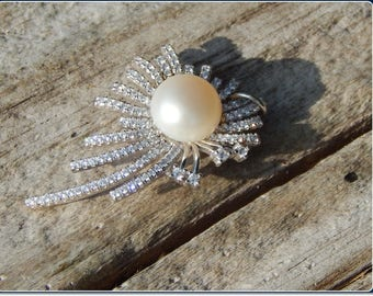 Beautiful Abstract Genuine Pearl & CZ Sterling Silver Pendant on Sterling Silver Chain