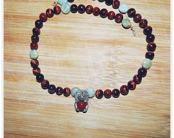 Beautiful Red Tiger's Eye and Blue Peruvian Opal Necklace with Handmade Sterling Silver Lion Holding Carnelian Bead