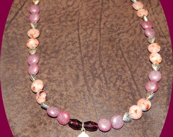 Now only FIVE Dollars! Bone Ank Pendant with Czech Glass in Colors of Mauve with Silver Hearts