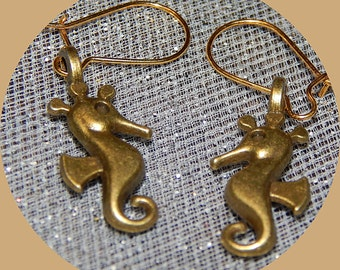 Now only TWO Dollars! Bronze 3D Seahorse Earrings