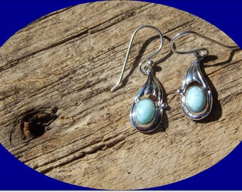 Just Reduced! Beautiful Sterling Silver and Top Quality Larimar Earrings on Decorative Ear Wire