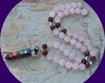 Now on Sale! Beautiful Healing Amethyst Chakra with 7 Chakra Stones Down the Center Strung on Rose Quartz Necklace