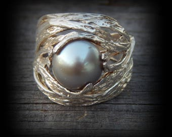 Beautiful Peacock/Gray Freshwater Pearl Ring in Silver Bird's Nest Setting