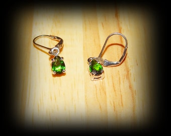 Beautiful Rich Green Chrome Diopside Dangle Earrings