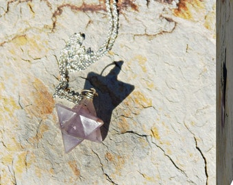 "Beautiful Amethyst Merkaba Star on Sterling Silver 18"" Chain"