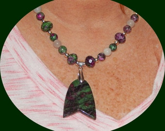 Now on Sale! Beautiful Ruby Zoisite Beads and Pendant with White Quartz & Silver Plated Beads