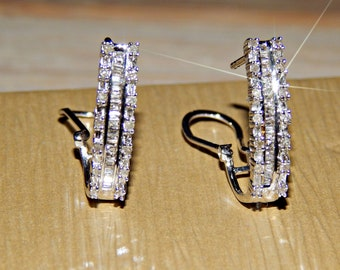 Absolutely Stunning .50ctw Round and Baguette Diamond Lever Back Earrings