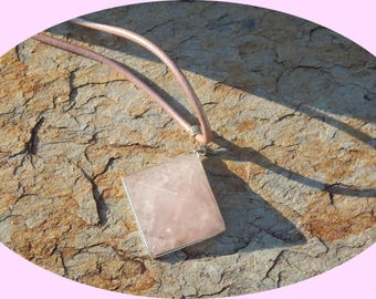 Breathtaking Rose Quartz with Silver Trim on a Rose Leather Cord