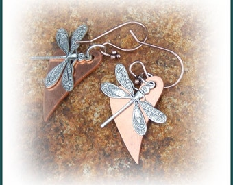 Adorable Antique Silver Plated Dragonfly and Bright Copper Heart Earrings