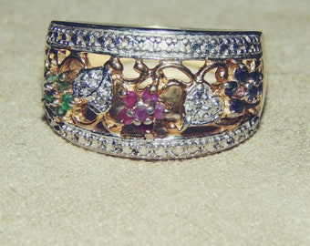 Emeralds, Rubies, Diamonds and Sapphires in Sterling Silver and Gold Band Ring