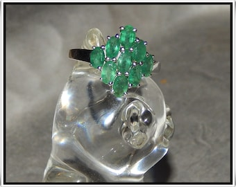 Now on Sale! Beautiful Vintage Emerald Ring in Sterling Silver
