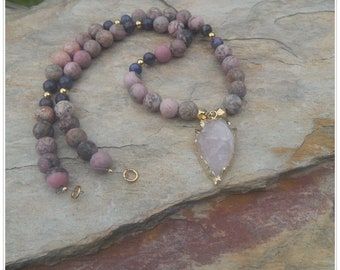 Beautiful Matte Rhodonite,  Purple Dumortierite & Gold Plated Beads with Gold Edged Rose Quartz Arrowhead Pendant