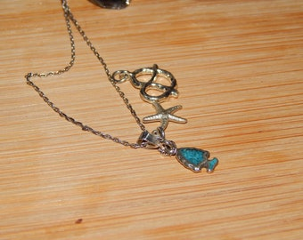 Adorable Sterling Silver Chain with 3 Sterling Silver Charms
