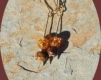 Only Two Dollars Wood and Orange Crackle Glass Earrings on Gold Plated Spear
