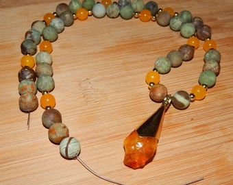 Beautiful African Green Turquoise, Yellow Jade, Gold Plated Beads with Raw Citrine Pendant