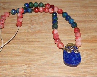 Gorgeous Azurite and Dyed Mountain Jade Necklace with Lapis Pendant