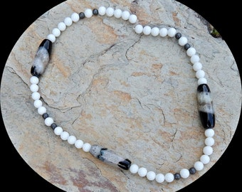 Now on Sale! Rare and Beautiful, Bright White Onyx Beads With Stunning Black Agate Druzy Oblong Beads
