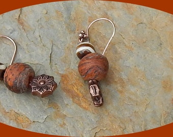 Coconut and Painted Wood Earrings with Copper Rose and Four Ball Design on Ear Wires