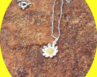 Adorable Sunflower Charm on Delicate Twisted Sterling Silver Chain