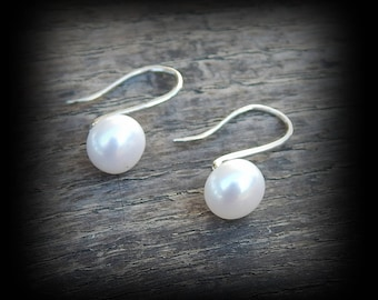 Your Choice! White or Gray Genuine Pearl & Sterling Silver Earrings