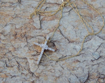 Beautiful 1/4 ct Geniune Cross in 14K Gold Vermil on Gold Vermil Rope Chain