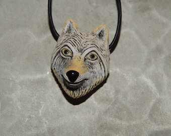 Hand Carved Peruvian Wolf Head Pendant