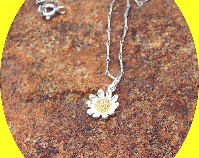 Featured listing image: Adorable Sunflower Charm on Delicate Twisted Sterling Silver Chain